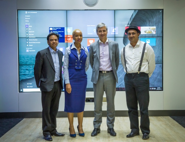 Alkesh Singh, MD at Astel Systems, Neo Moloele, MD at Meniko Records Management Services, Jean-Philippe Courtois, President of Microsoft International & Anice Hassim founder and CEO at immedia Studio